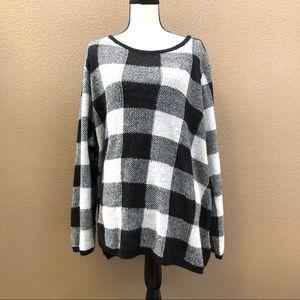 Lane Bryant black white stripes sweater top Sz 22